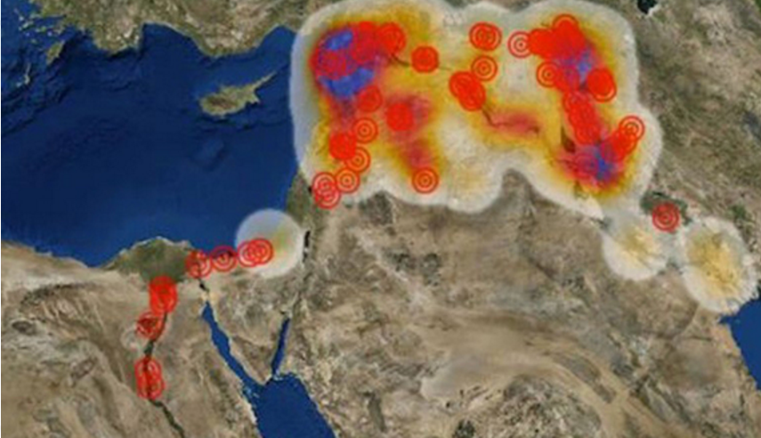 This map on the Antiquities Coalition website shows areas where archaeological sites and cultural treasures are under threat in the Middle East. (photo by The Antiquities Coalition)