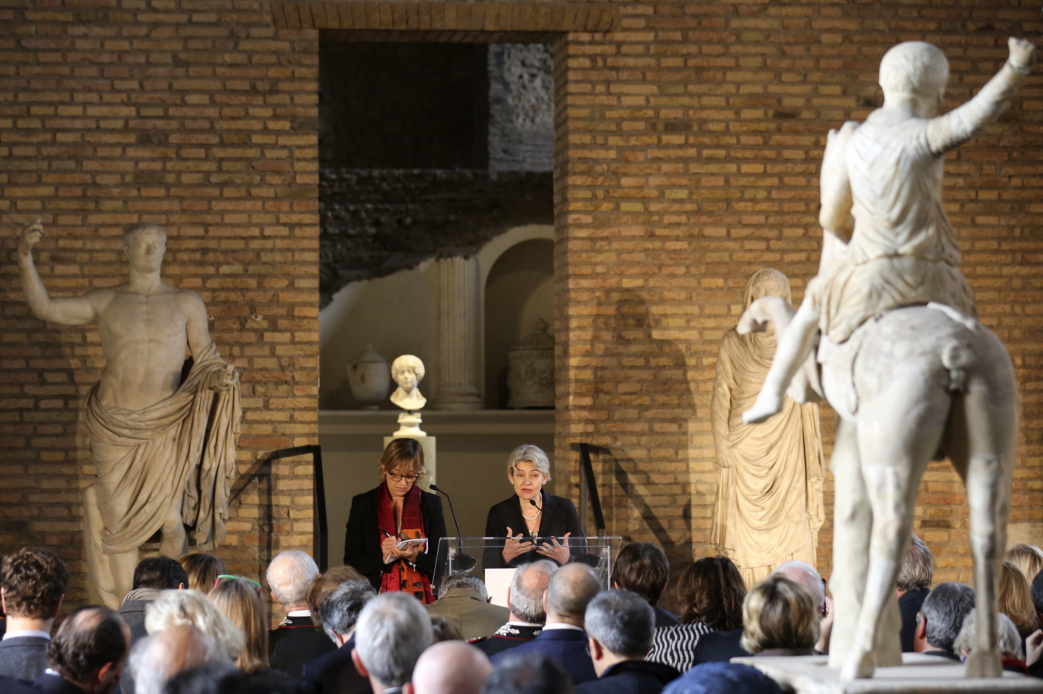 Irina Bokova at the presentation of the Unite for Heritage operation, a UN-backed task force to protect monuments and cultural sites. Image: REUTERS/Stefano Rellandini