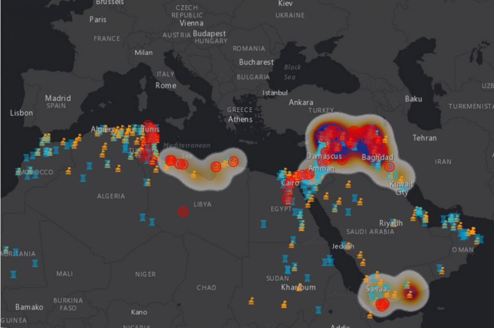 This map shows where some of the world's cultural heritage sites are at risk from terrorists. Image: The Antiquities Coalition