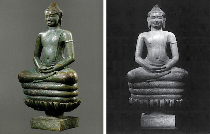 """A photograph of a 10th-century Naga Buddha statue included in Emma C. Bunker and Douglas Latchford's 2011 book""""Khmer Bronzes,"""" left, and a phot of the statue that was attached to US court documents."""