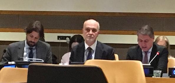 Deputy Ambassador Inigo Lambertini, Deputy Permanent Representative of Italy to the United Nations (Center) & Ambassador Kornelios Korneliou, Permanent Representative of the Republic of Cyprus to the European Union (Right)