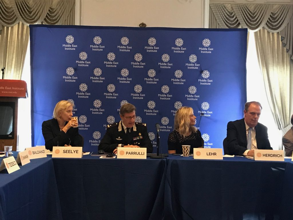 From left: MEI Vice President Kate Seelye, Brigadier General Fabrizio Parrulli, Antiquities Coalition founder and chairman Deborah Lehr, Antiquities Coalition, and Antiquities Coalition co-founder Peter Herdrich at a roundtable discussion with cultural heritage experts.