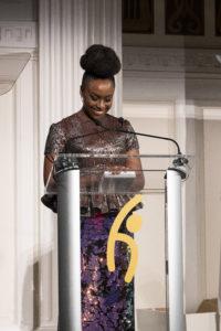 Novelist Chimamanda Ngozi Adichie, addressing the room.