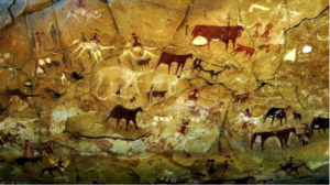 8,000-year-old ancient Ennedi cave paintings in Chad, which have been defaced with graffiti. Photo: BBC.